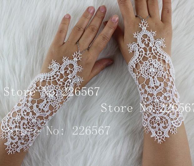 2014 nuova principessa cortoin pizzo bianco, da sposa avorio da sposa guanti di spedizione gratuita