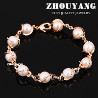 ZYH171 18K Rose Gold Plated Imitation Pearl Bracelet Jewelry Made with Genuine  Austrian Crystals Wholesale