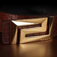 Manbang Leather belts Fashion Crocodile pattern genuine cowskin Black strap gold/silver buckle Free Ship0141E