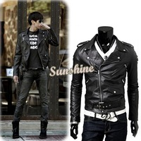unique men's leather jacket Korean catwalks shall Slim leather jacket PU high quality jacket #010 9192