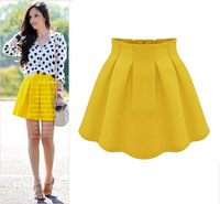 Wholesale 2014 Spring Summer Women High Waist Above Knee Skirt Female Chiffon Plus Size XS-XXL Skirt 4Colors