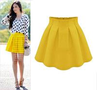 Wholesale 2014 Spring Summer Women High Waist Above Knee Skirt Female Chiffon Plus Size S-XXL Skirt 4Colors