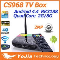 CS968 Android 4.4 Kitkat Quad CoreTV Box XBMC Preinstalled Web Cam Mic RK3188 Quad Core 2G RAM 8G ROM Mic WiFi Free Shipping