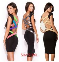 XXL Plus Size 2014 New Summer Dress Women Vestidos De Festa Casual Colorful Back Bodycon Bandage Dress Celeb Party Dress 9107