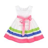 High Quality 2014 summer girl puffy dress kids clothing princess tutu dress rainbow striped dress dancing clothing B014 SV002798