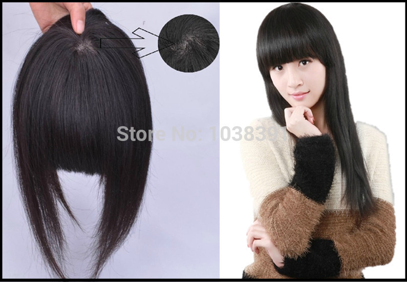 Seamless Bangs Simulation Scalp With Lace Hand-Woven Center (5CM) Extension Hair Bangs Clip In Fringe #1 #1b #2 #4 #6 #8 #613(China (Mainland))