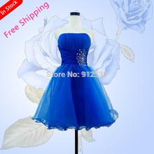 nueva llegada corto azul 2014 moda cristal diseño azul corto mujeres vestido de fiesta novia(China (Mainland))