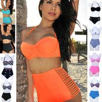 9styles Women Summer High Waisted Bathing Suits 2014 New Bandeau Bikini Set For Women Push Up Swimwear Swimsuit For Women