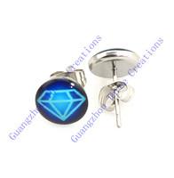 18 pairs 10mm Blue Brilliant Pattern Stainless Steel Stud Earrings,Fashion Earring Stud,Stainless Steel Earring #30445