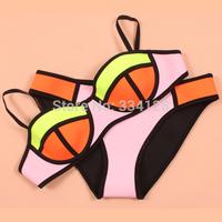 2014 Women's Neon Triangl Swimwears Neoprene Bikini Neoprene Swimsuit Set Push Up Underwire Bikini Set