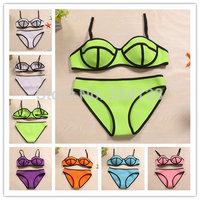 2014 Women's Fashion Triangl MILLY Neoprene Swimwear  neoprene Bikinis Neon Neoprene Swimsuit Set Bikini Set S-XL 2242