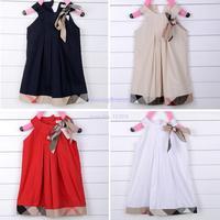 Nice New Arrival Hot Baby Girls Sleeveless Dresses High Quality Bow Casual Cotton Knee-length Princess Dress B16 SV003280