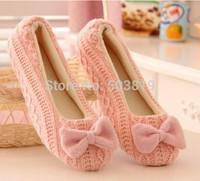 Big Discount Drop Shop Warm Soft Sole Woman Indoor Floor Slippers/Shoes Crochet Bowtie Pantufa Girls Home Slippers chinelo 34-40