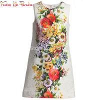 2014 Brand New Girl Dress Floral Children Princess Dress Sleeveless Winter Casual Dress Vestidos Kids Party Dresses for Girls