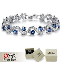 OPK JEWELRY Fashion EU Style Platinum Plated Blue Crystal Stone Bracelets & Bangles Luxury Wedding Jewelry Gift