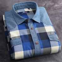 brand new spring autumn cotton flannel men dress shirt mens casual shirts long sleeve slim fit plaid warm casual-shirt wholesale
