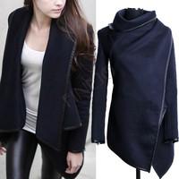 Hot Selling !Women Coat Winter Woolen Coat Fashion Trench Woolen Black Long Sleeve Thick Jacket b7 SV005043