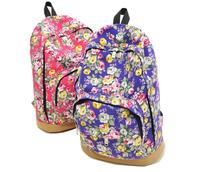 2015 Canvas School Bags Rose Flower School Packbacks Leptop Bolsas Femininas Leisure Backpacks For Teenage Girls Free Shipping