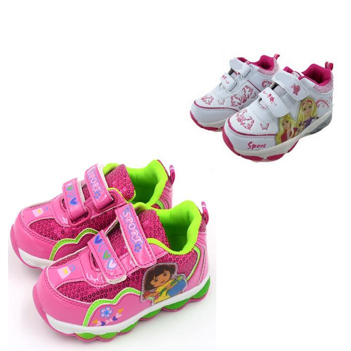 Size 25-29 Girls Shoes 2015 Children Sneakers For Kids Girl Princess Dora Child Girls Shoes Flashing Light Cartoon Sneakers L72(China (Mainland))
