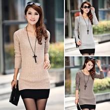 Cheapest Women Sexy Sweater Dress Medium Long Slim O-Neck Basic Sweater New Style Knitted Sweater Free Size#16 SV007592(China (Mainland))
