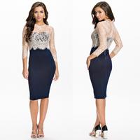2014 New Vestidos De Festa OL Midi Pencil Office Dress Bodycon Bandage Dress Women Work Wear Slim Lace Club Party Dress HW0204