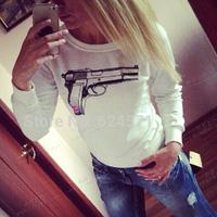 Sweatshirt 2015 Women Hoody Gun Printed Hoodies Casual T Shirt  Fashion Sport Suit Women Printed Sweatshirt Plus Size