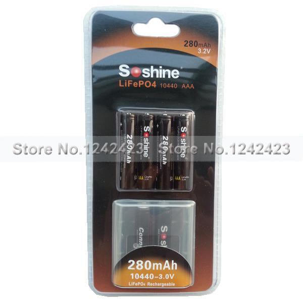 Аккумулятор 4PCS Soshine 280mAh 10440 3.2V LiFePO4 AAA аккумуляторная батарея bik lifepo4 38120s lifepo4 48v 10 40