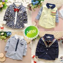 2015 Spring new Retail 1 piece boy baby shirts long sleeve kids shirts boy children shirts boys shirts WF55(China (Mainland))