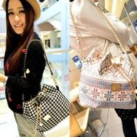 2014 Women Patchwork Patterns Shoulder Bag Handbag Chain Messenger Drawstring Bag Diagonal Package Canvas Tote B16 SV010267