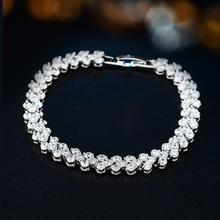 Joyme Brand New Hot Clear Zirconia Crystal Platinum Plated Bracelets Bangles Roma Bracelet For Women Fashion