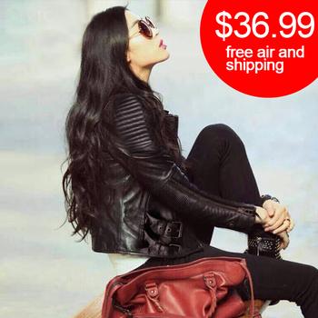 Бесплатная доставка 2015 последние искусственной кожи куртка черные женщины мотоцикла дамы кожаная куртка женщин пальто из замши пальто PU куртка пальто