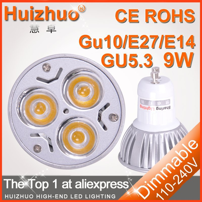 10 pcs/lot [ Huizhuo ] Shenzhen Dimmable / non-dimmable 3W / 9w CE GU10 High Power LED Lamp,White LED Bulb Light Spotlight(China (Mainland))