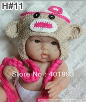 30pcs OWL crochet baby hat children cotton hat Stripes Beanie with ear ANIMAL HAT crochet cap monkey hat