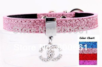 MOQ:20pcs!(4colors available)Free Shipping!12MM Paillette Small Dog Collar With Heart Charm