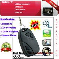 No.LPN0001 Free shipping Top sell  808 car key camera/surveillance 808 keychain CCTV camera+720x480avi video+10pcs/lot