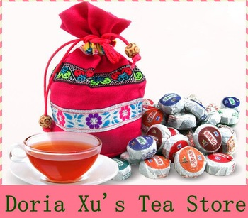 Promotion 50pcs different flavors Chinese yunnan puerh tea ripe puer tea China the tea pu er shu lose weight products gift bag