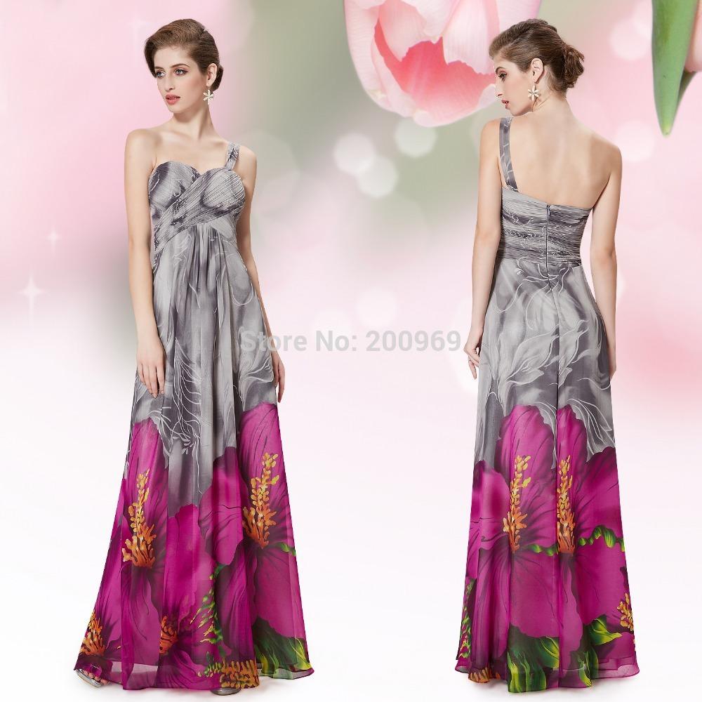 He09349hp sexy V- collo rosa stampato floreale abiti da serain chiffon abiti da festa lunga 2014