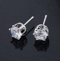 5mm CZ Diamond Stud Earrings Wholesale CZ Stone Earrings 24Pairs/Lot Free Shipping