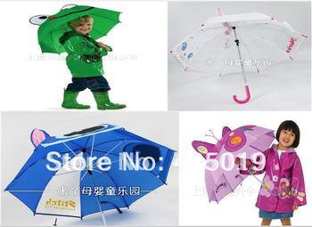 Free Express 3d Children Rain Umbrellas Kids Parasol 30 Mixable Cartoon Designs Marie Cat Frog Lion Butterfly Sun Airplane Car