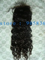 """Stock tight curly silk lace closure that can be colored   3.5""""*4"""""""