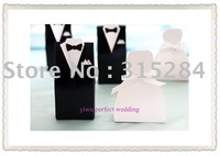 FREE SHIPPING--100pcs/lot TUXEDO DRESS bridegroom bride Favor Box Boxes Wedding banquet (XY-313a)
