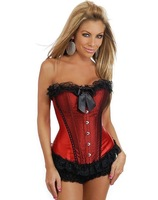 Light Scarlet Red Lace Up Corset