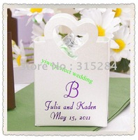 FREE SHIPPING- Metallic White Wedding Favor Basket,candy box,chocolate box (XY-290)