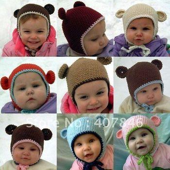 Baby crochet bear hats infant boy earflap 0-3Y children's caps 16pc/lot cotton yarn custom