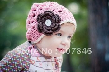 Hair accessory crochet baby big flower cap  0-8Y girl beanie 1 flower 9pc/lot cotton yarn custom