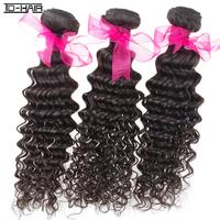 brazilian curly virgin hair extension deep wave 100% human hair weaves 3pcs/lot natural color 1b# wholesale TD HAIR