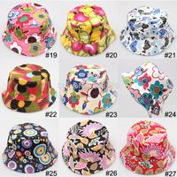 FREE SHIPMENT, children girls sun hat summer hat cartoon design printed cute picture , 36 design color