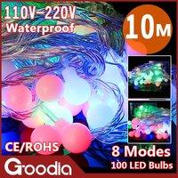 LED colorful christmas bulb strip light,AC220V,10m,100pcs led,outdoor christmas decoration,decoration lamp,indoor lighting