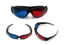 3D digital video Glasses Re-useable Plastic Frame Resin Lens Anaglyphic Blue + Red D013