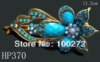 Wholesale hot sell zinc alloy rhinestone fashion flower hair clips hair accessories Free shipping 12pcs/lot Mixed colors HP370